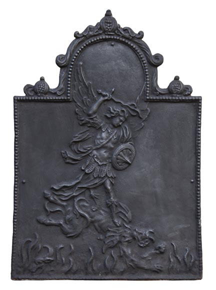 Antique fireback decorated with Saint-Michel slaying the dragon-0