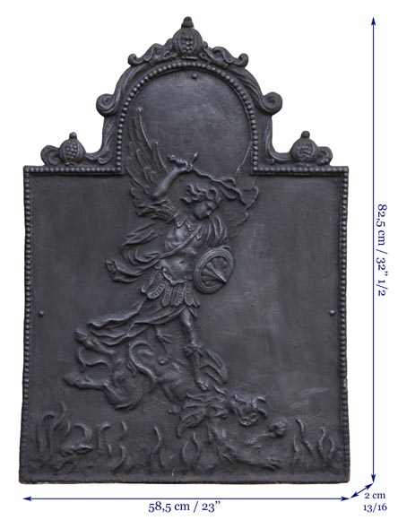 Antique fireback decorated with Saint-Michel slaying the dragon-6