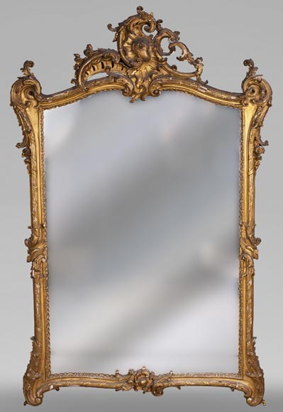 Antique Louis XV style trumeau in gilded wood-0