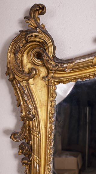 Antique Louis XV style trumeau in gilded wood-2