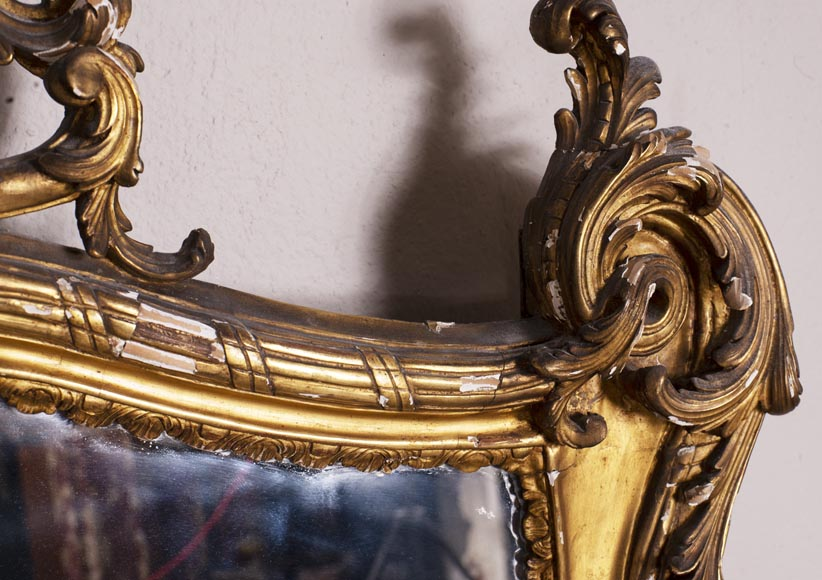 Antique Louis XV style trumeau in gilded wood-4