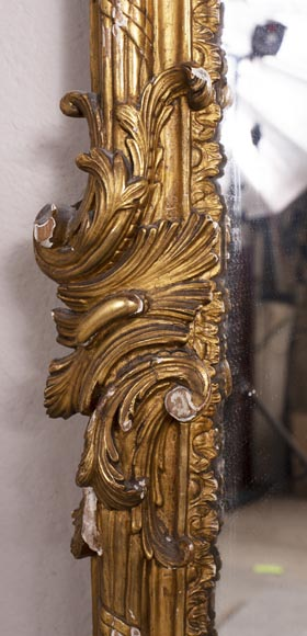 Antique Louis XV style trumeau in gilded wood-5