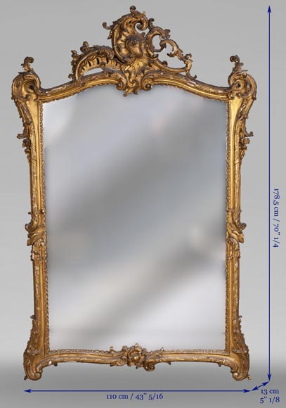 Antique Louis XV style trumeau in gilded wood-8