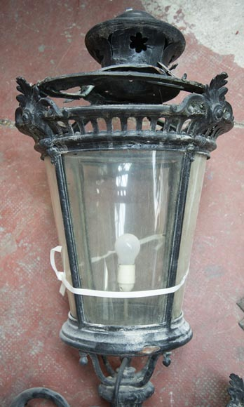 Pair of antique Napoleon III period lanterns with lion head decoration-6