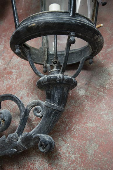 Pair of antique Napoleon III period lanterns with lion head decoration-9