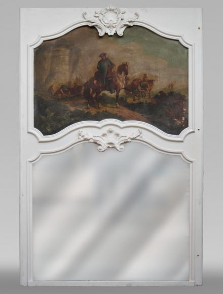 Antique Louis XV style trumeau with an oil on panel representing a scene of merchants on horseback-0