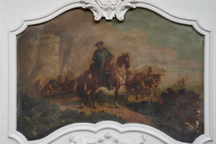 Antique Louis XV style trumeau with an oil on panel representing a scene of merchants on horseback-2