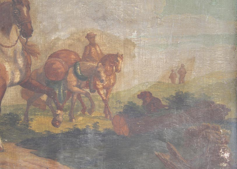 Antique Louis XV style trumeau with an oil on panel representing a scene of merchants on horseback-3