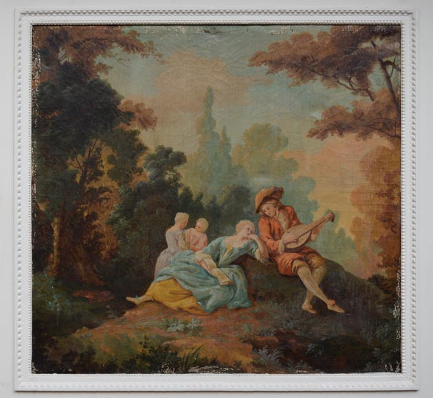 Antique Louis XVI style trumeau with an oil on canvas with gallant scene decoration-1