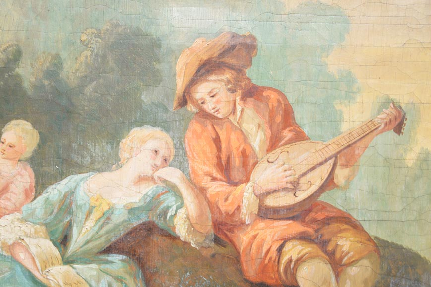 Antique Louis XVI style trumeau with an oil on canvas with gallant scene decoration-2