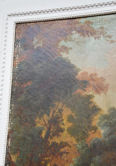 Antique Louis XVI style trumeau with an oil on canvas with gallant scene decoration-4