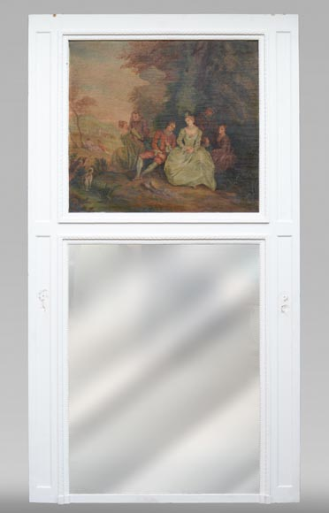 Antique painted trumeau decorated with an oil on canvas representing a gallant scene-0
