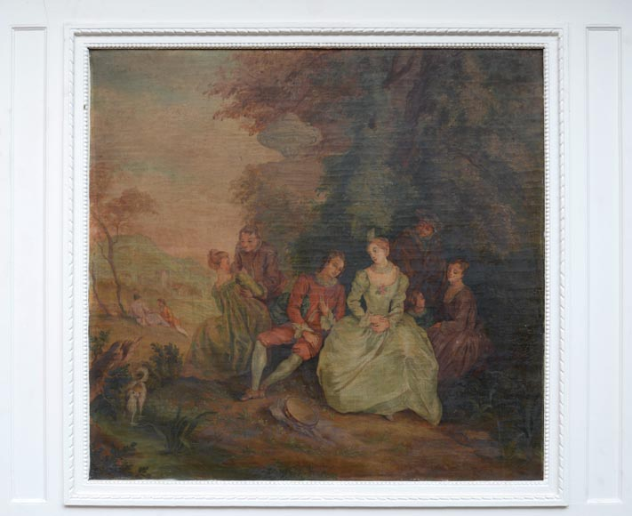 Antique painted trumeau decorated with an oil on canvas representing a gallant scene-1