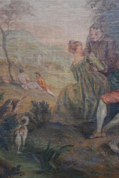 Antique painted trumeau decorated with an oil on canvas representing a gallant scene-2