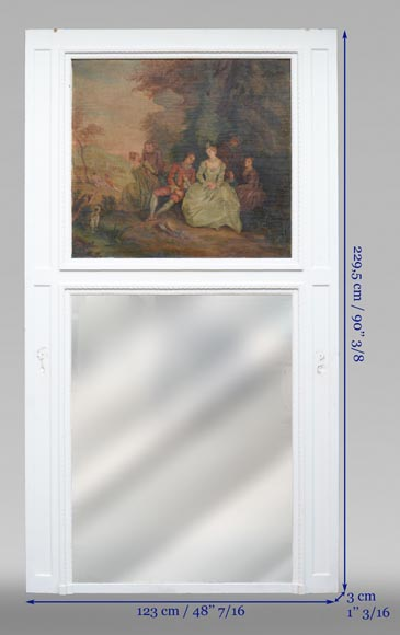 Antique painted trumeau decorated with an oil on canvas representing a gallant scene-8