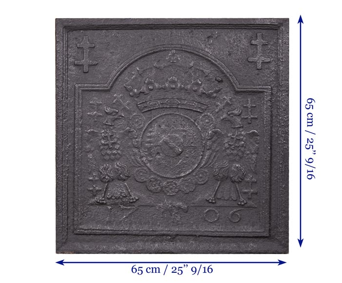 Cast iron fireback with coat of arms of Lorraine, dated 1706-8