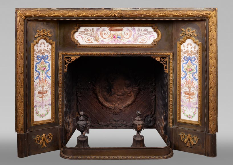 Gilded bronze fireplace interior, Napoleon III style, decorated with earthenware panels-0