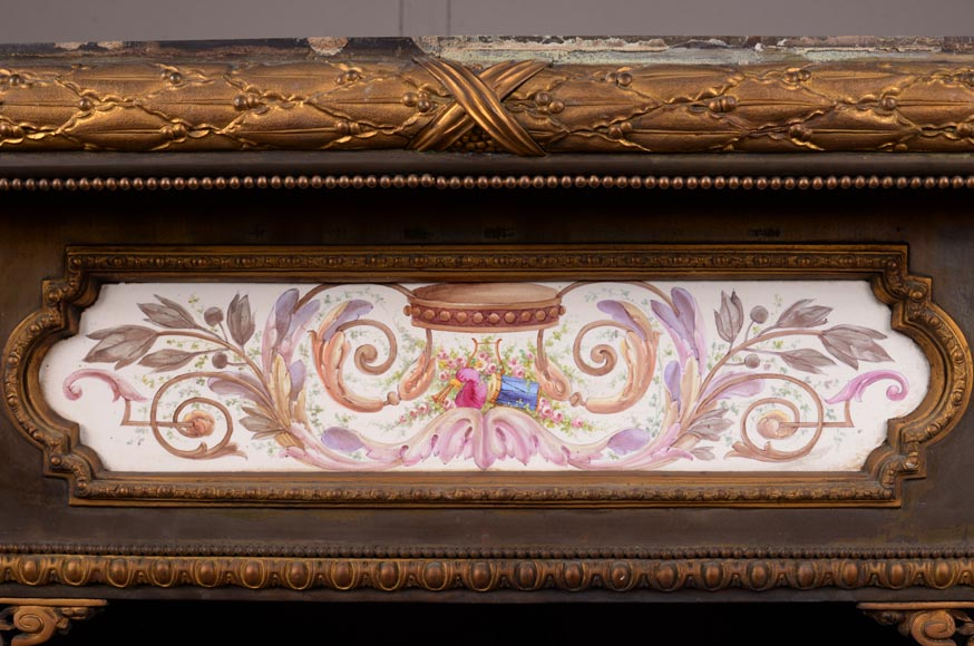 Gilded bronze fireplace interior, Napoleon III style, decorated with earthenware panels-1