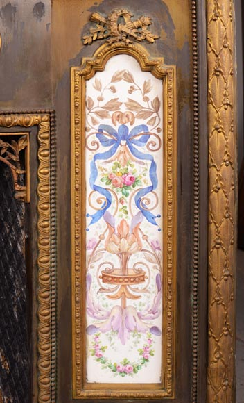Gilded bronze fireplace interior, Napoleon III style, decorated with earthenware panels-2