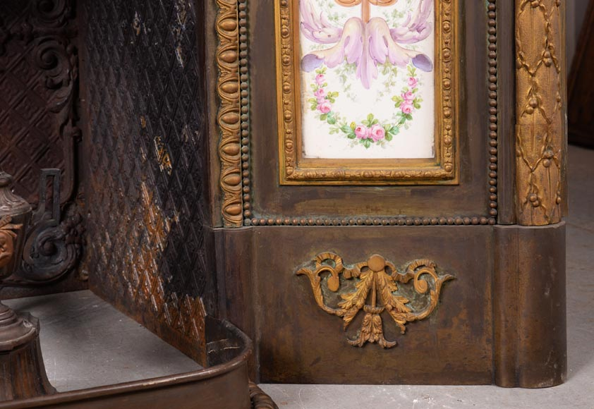 Gilded bronze fireplace interior, Napoleon III style, decorated with earthenware panels-3