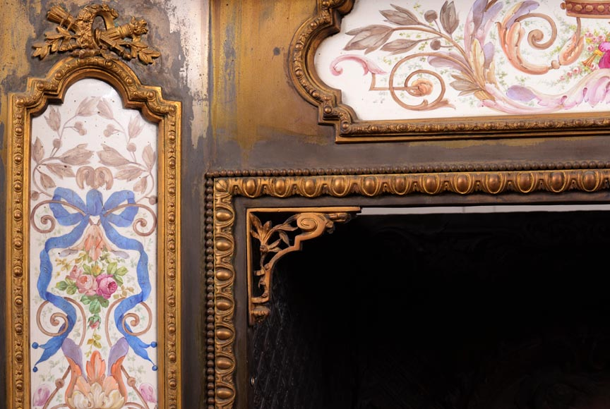 Gilded bronze fireplace interior, Napoleon III style, decorated with earthenware panels-5