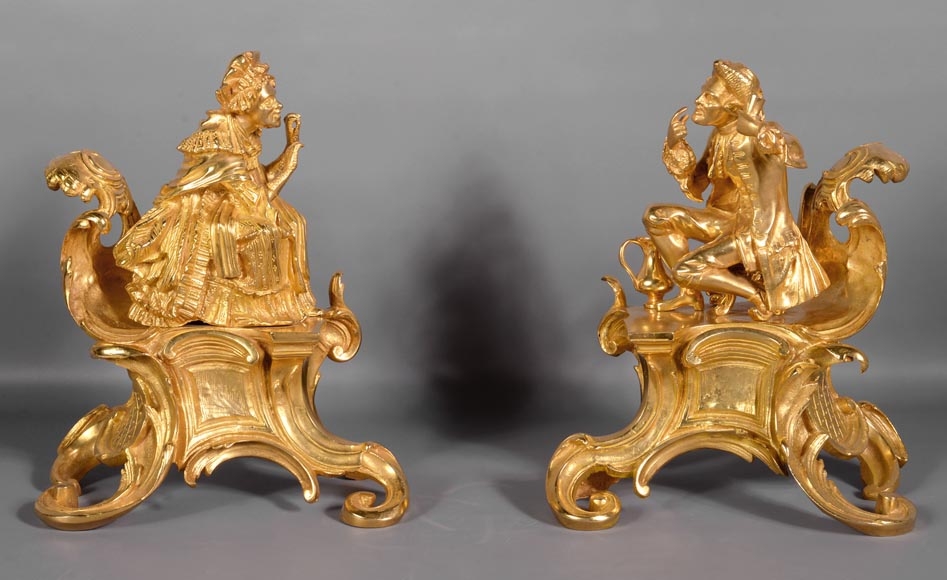 Pair of antique Louis XV style gilt bronze andirons with characters in costume-0