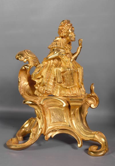 Pair of antique Louis XV style gilt bronze andirons with characters in costume-1