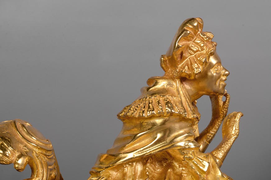 Pair of antique Louis XV style gilt bronze andirons with characters in costume-2