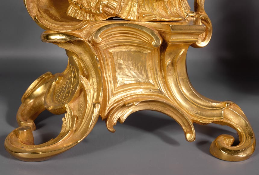 Pair of antique Louis XV style gilt bronze andirons with characters in costume-4