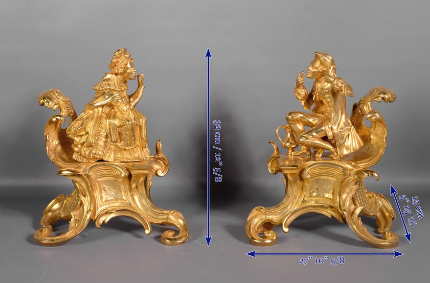 Pair of antique Louis XV style gilt bronze andirons with characters in costume-8