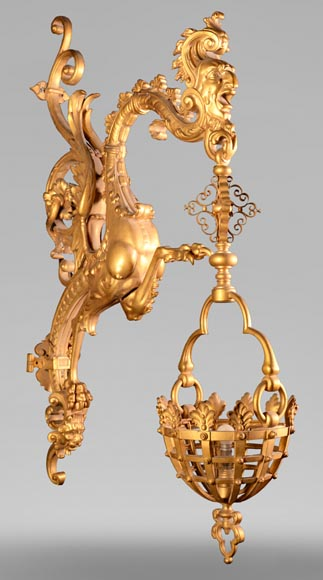 Large Napoleon III lantern with chimeras in gilt bronze-0
