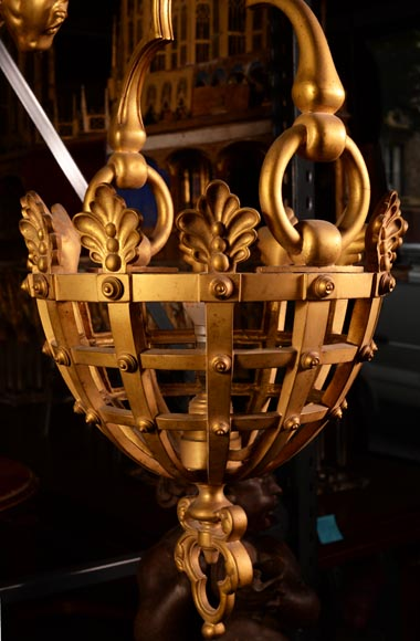 Large Napoleon III lantern with chimeras in gilt bronze-3