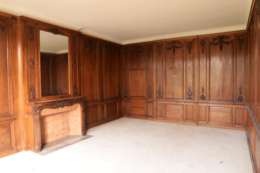 Carved oak woodwork transition style, end of the 19th century-0