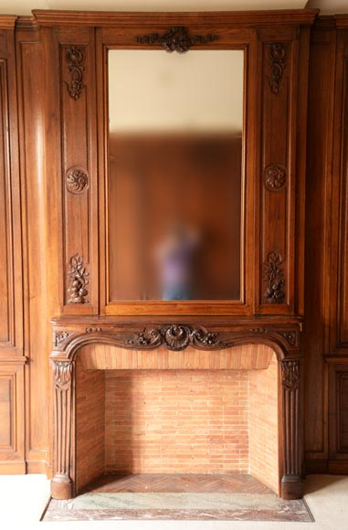 Carved oak woodwork transition style, end of the 19th century-1