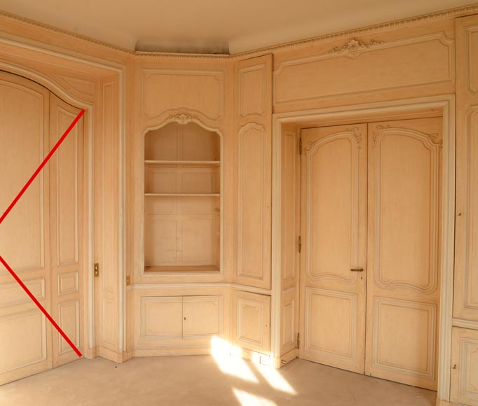 Two Louis XV style paneled rooms, end of the 19th century-6