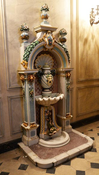 VILLEROY & BOCH -Important polychrome earthenware wall fountain circa 1890-1