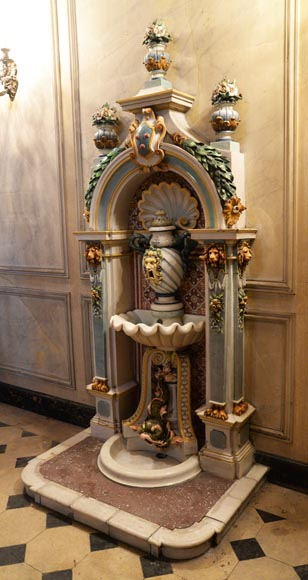 VILLEROY & BOCH -Important polychrome earthenware wall fountain circa 1890-2