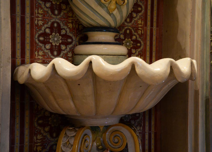 VILLEROY & BOCH -Important polychrome earthenware wall fountain circa 1890-15