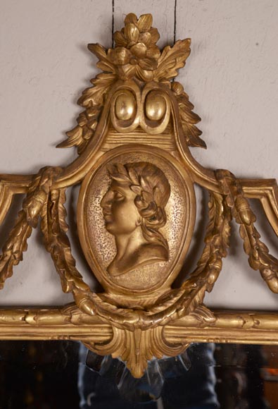 Antique Napoleon III style gilded wood trumeau carved with a profile decoration in a medallion-1