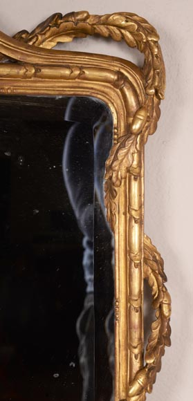 Antique Napoleon III style gilded wood trumeau carved with a profile decoration in a medallion-4