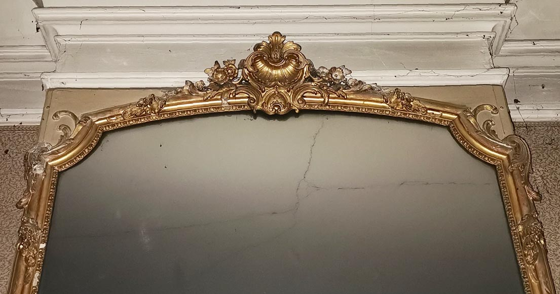 Large gilded antique Louis XV style trumeau-1
