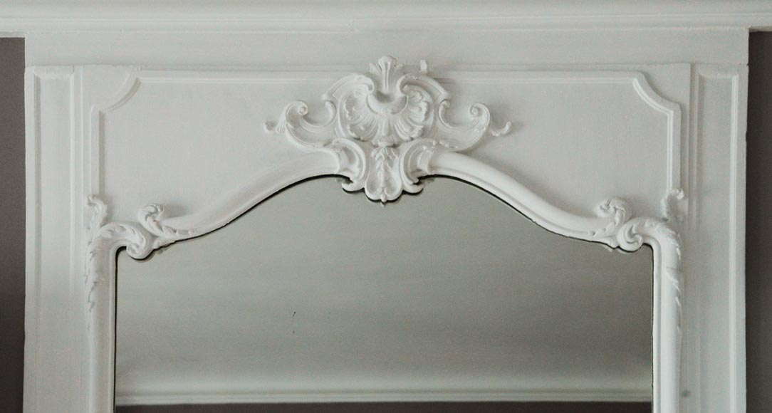 Antique Louis XV style trumeau with shell-1