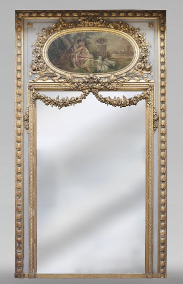 Antique Louis XVI style trumeau decorated with an oil on canvas representing a country scene-0