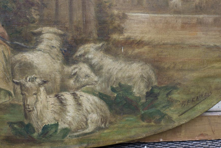 Antique Louis XVI style trumeau decorated with an oil on canvas representing a country scene-2