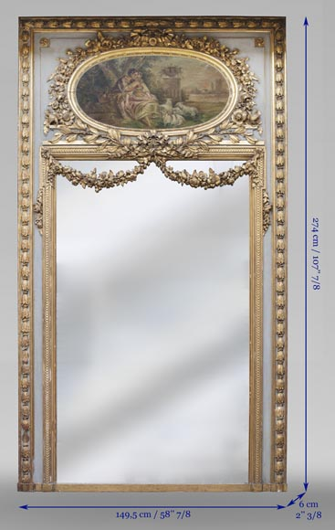 Antique Louis XVI style trumeau decorated with an oil on canvas representing a country scene-12