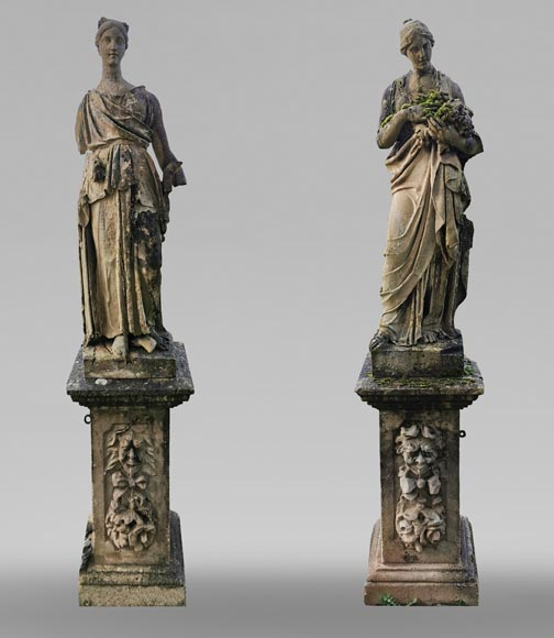 Set of two stone sculptures, mid-19th century -0