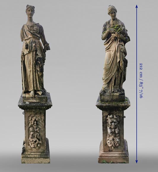 Set of two stone sculptures, mid-19th century -16