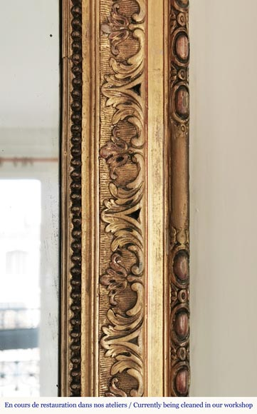 Regence style gold wood and stucco overmantel with a rich decor-5