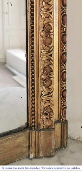 Regence style gold wood and stucco overmantel with a rich decor-6