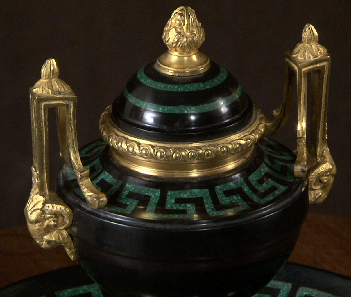 TAHAN: Malachite and Marble Inkwell-3